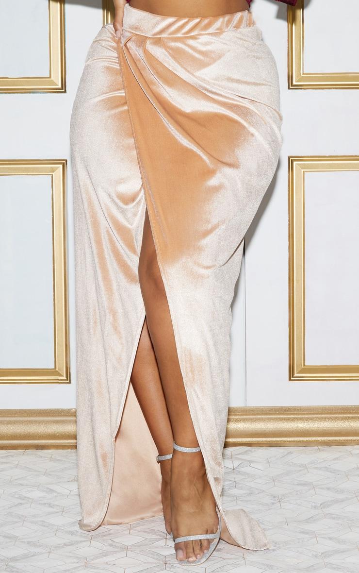 Plus Champagne Velvet Wrap Maxi Skirt 4