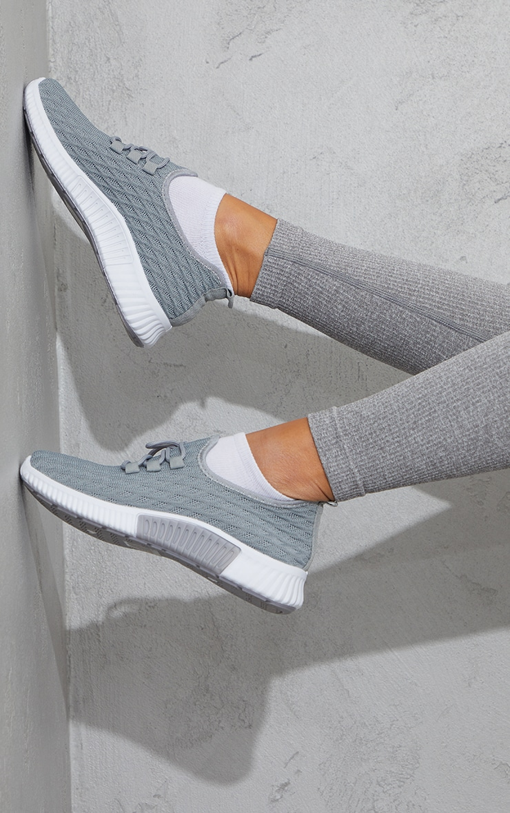 Grey Knitted Lace Up Sports Sneakers 2