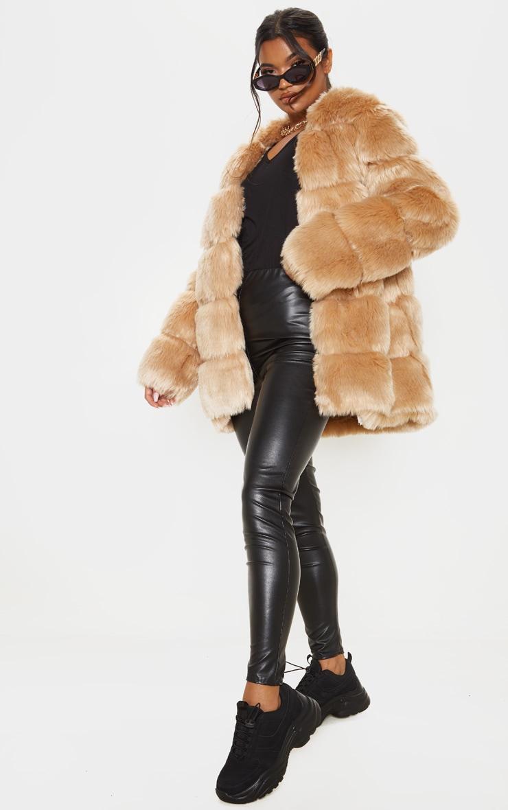 Stone Faux Fur Bubble Coat 1
