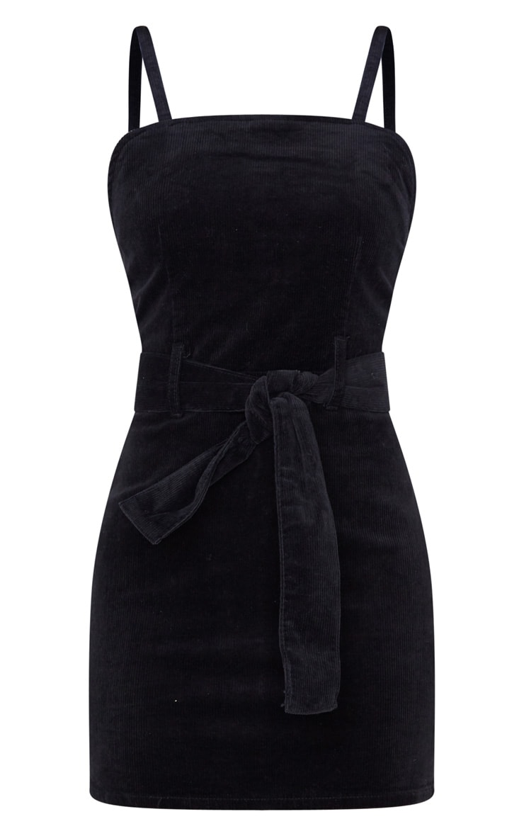 Black Cord Tie Denim Dress 3