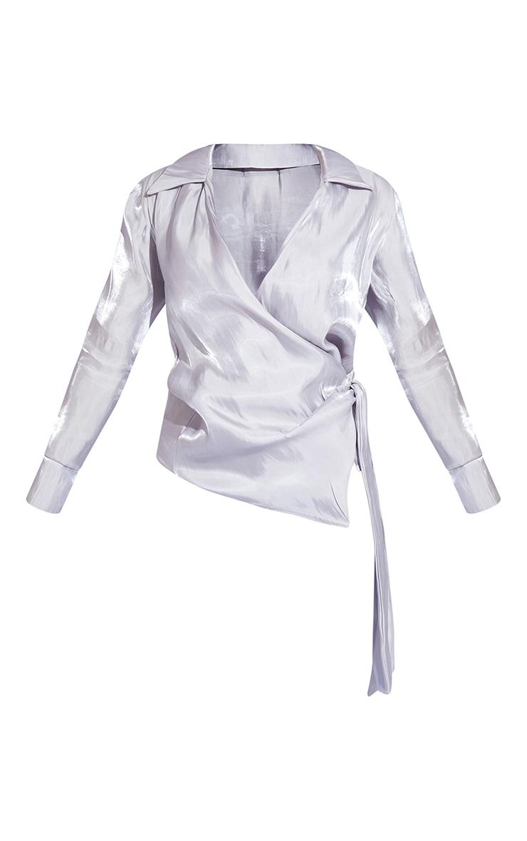 Silver Satin Metallic Tie Front Shirt 5