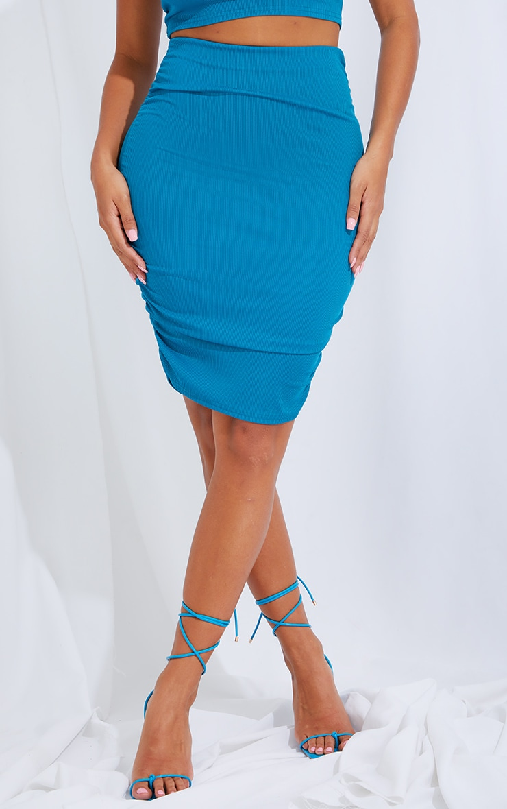 Shape Teal Rib Ruched Side Bodycon Skirt 2