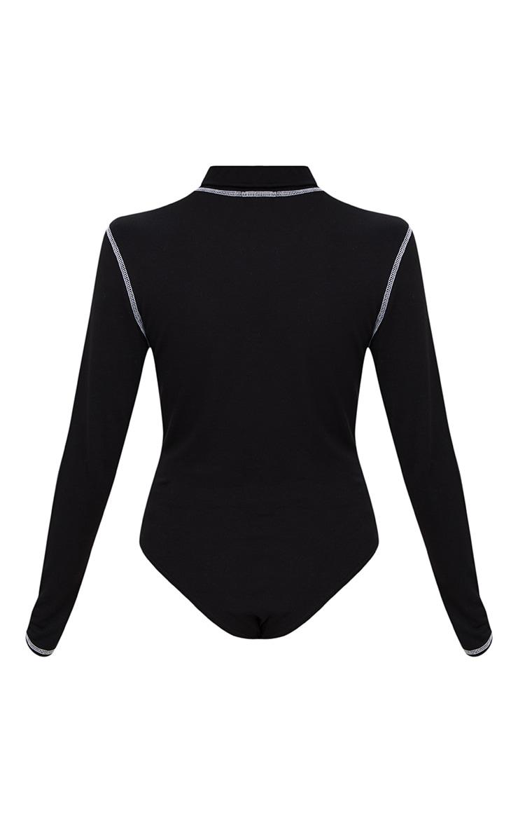 Black Contrast Stitching High Neck Thong Bodysuit  4