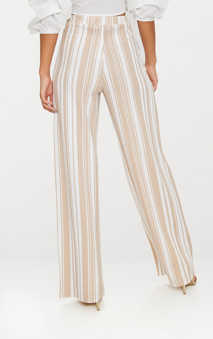 Stone Crepe Interest Stripe Wide Leg Trouser 4