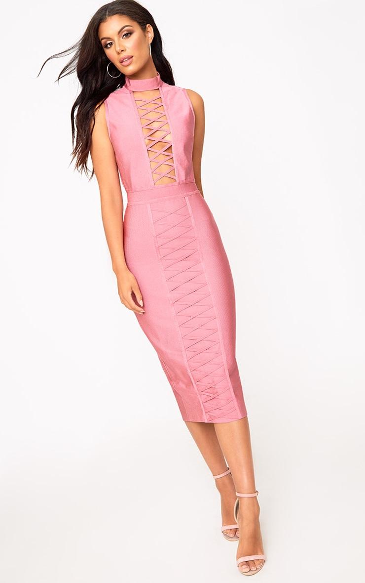 Rose Criss Cross Bandage Midi Dress 3