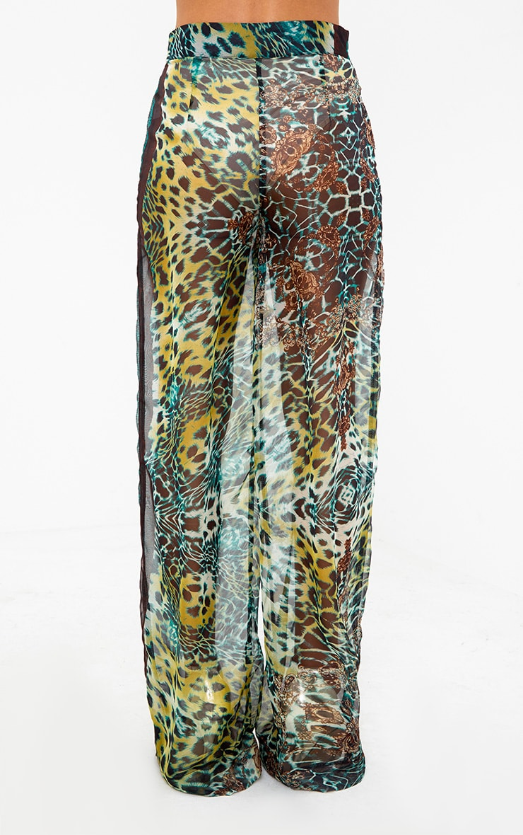 Green Sheer Scarf Print Wide Leg Trousers 4