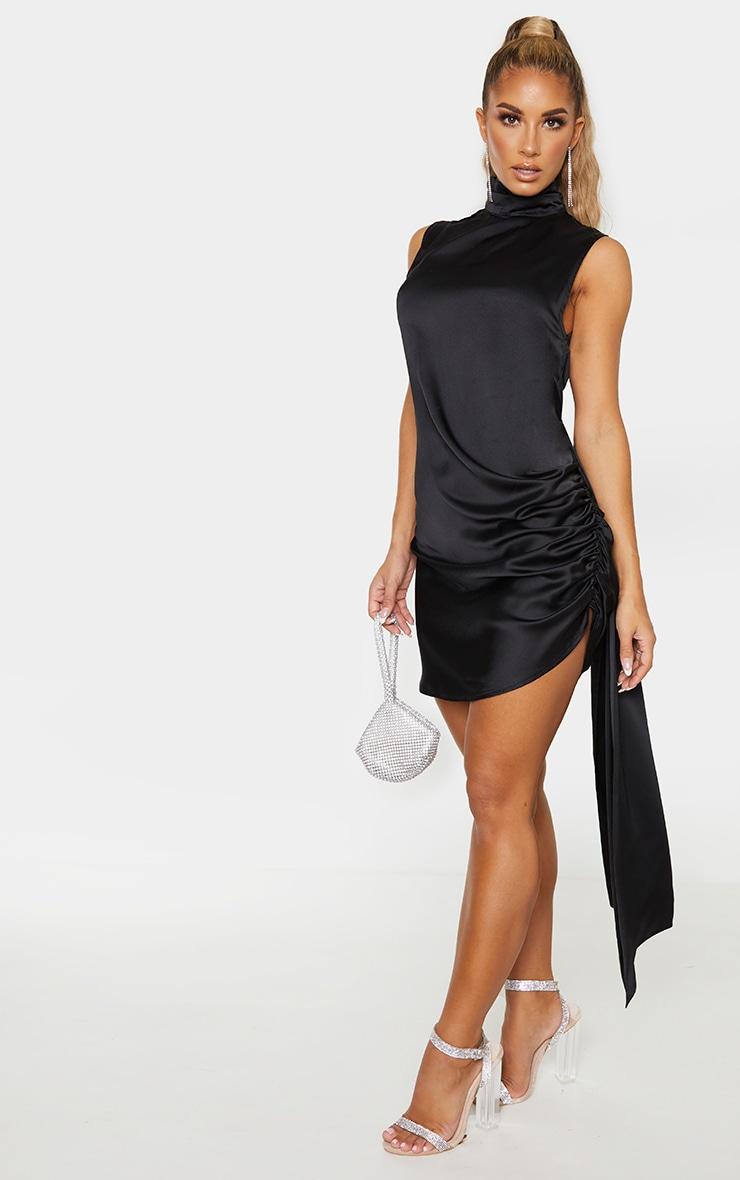 Black Satin High Neck Side Knot Bodycon Dress 5