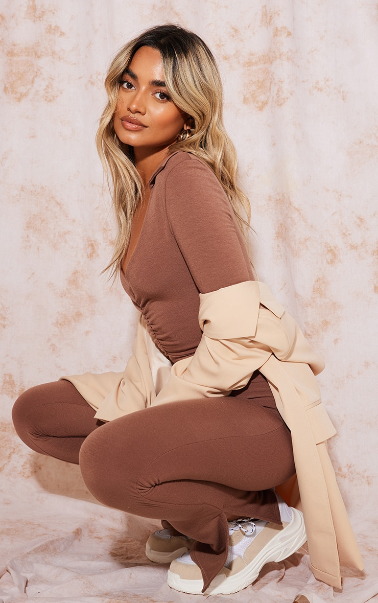 Recycled Petite Chocolate Contour Jersey Ruched Front Jumpsuit 3