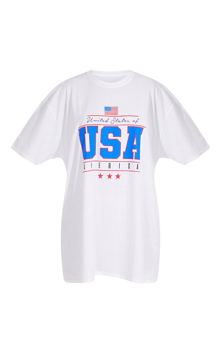 White Printed USA T Shirt Dress 5