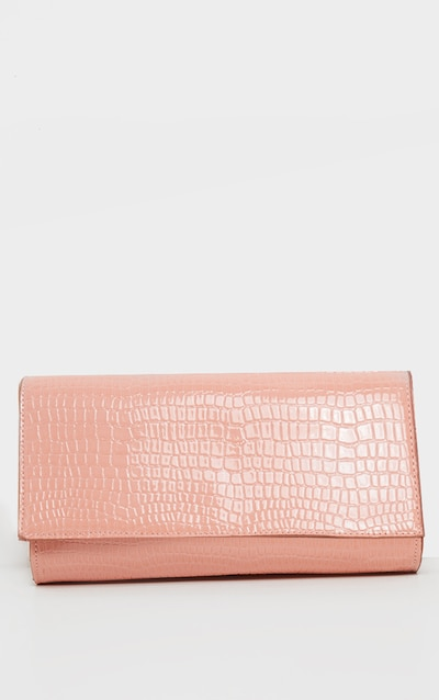 Pink Croc Large Rectangle Clutch Bag
