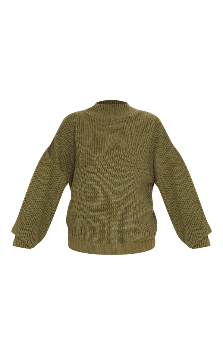 Khaki Balloon Sleeve Fluffy Jumper 3