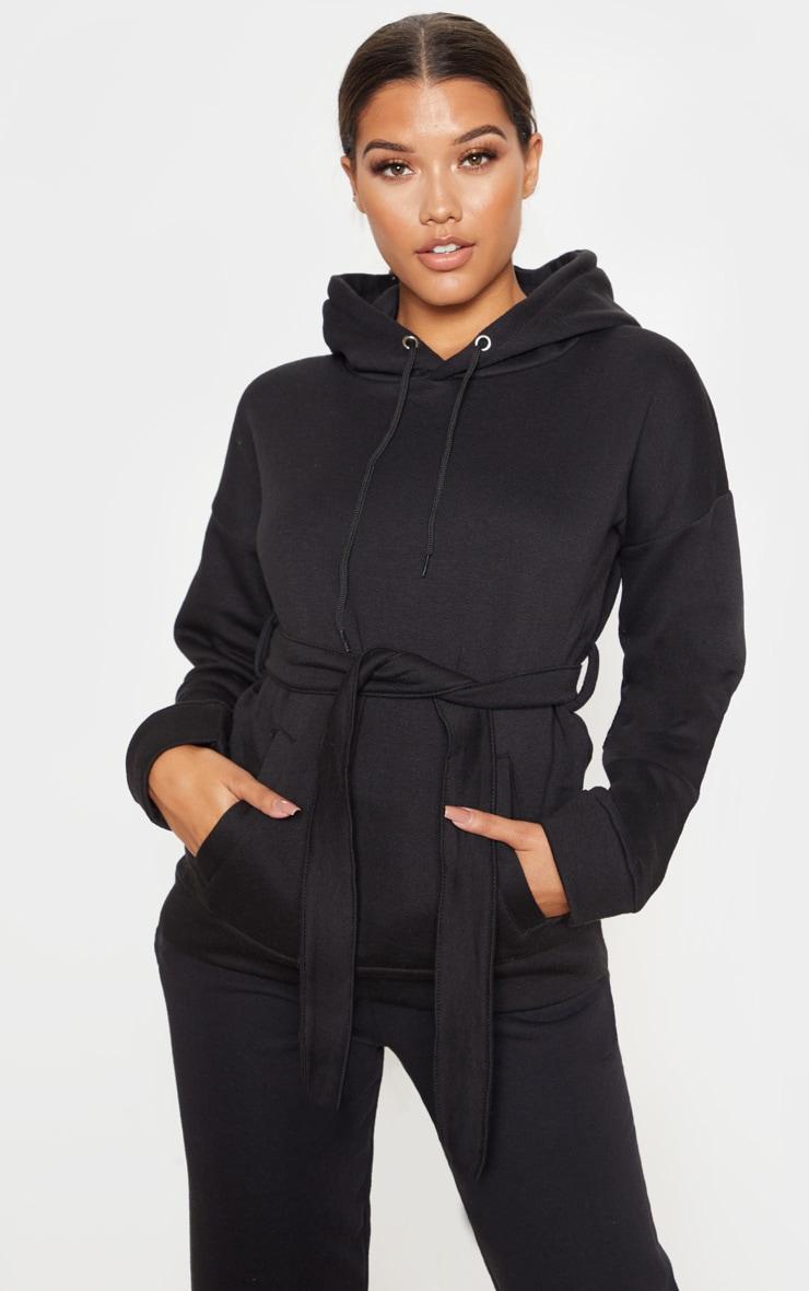 Black Oversized Belted Hoodie 1