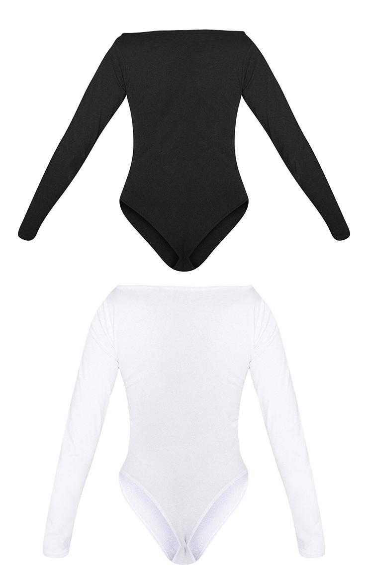 Basic Black & White Cotton Blend Bardot Bodysuit 2 Pack 6