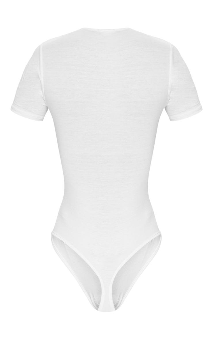 Basic Black & White V Neck Shortsleeve Thong Bodysuit 2 Pack 6