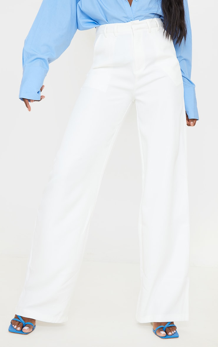 Tall White Wide Leg Dad Trousers 2