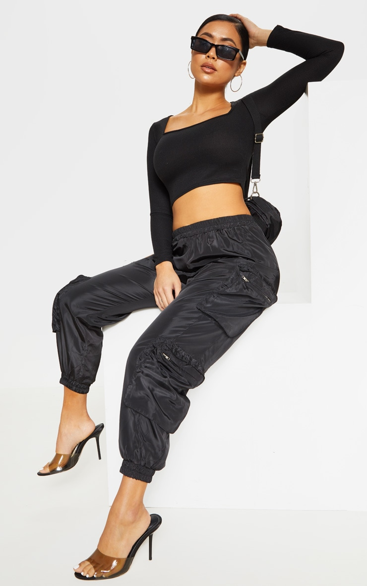 Petite Black Square Neck Ribbed Long Sleeve Crop Top 4