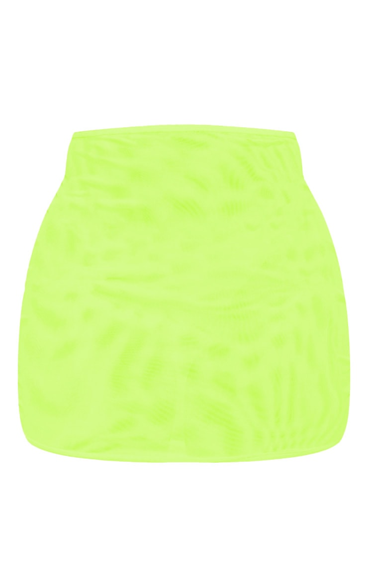 Neon Yellow Mesh Mini Skirt 3