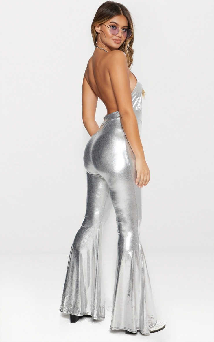Silver Metallic Plunge Jumpsuit 2