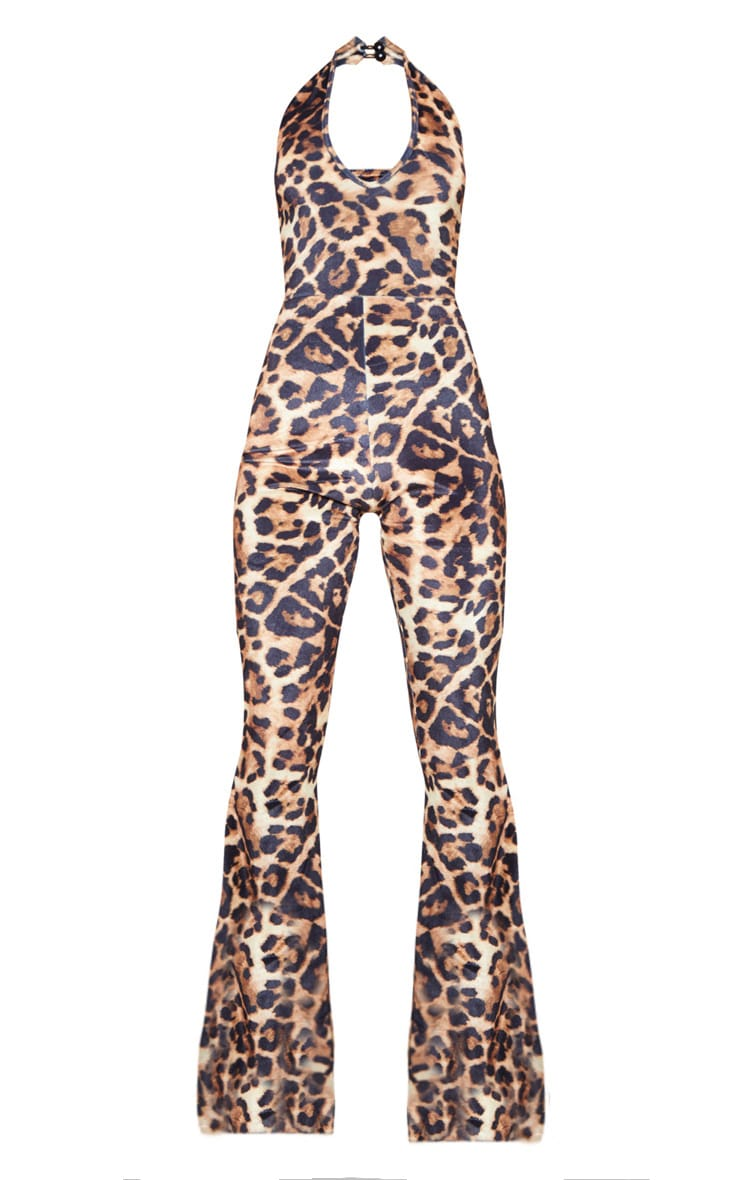 Leopard Print Halterneck Flare Leg Jumpsuit 4
