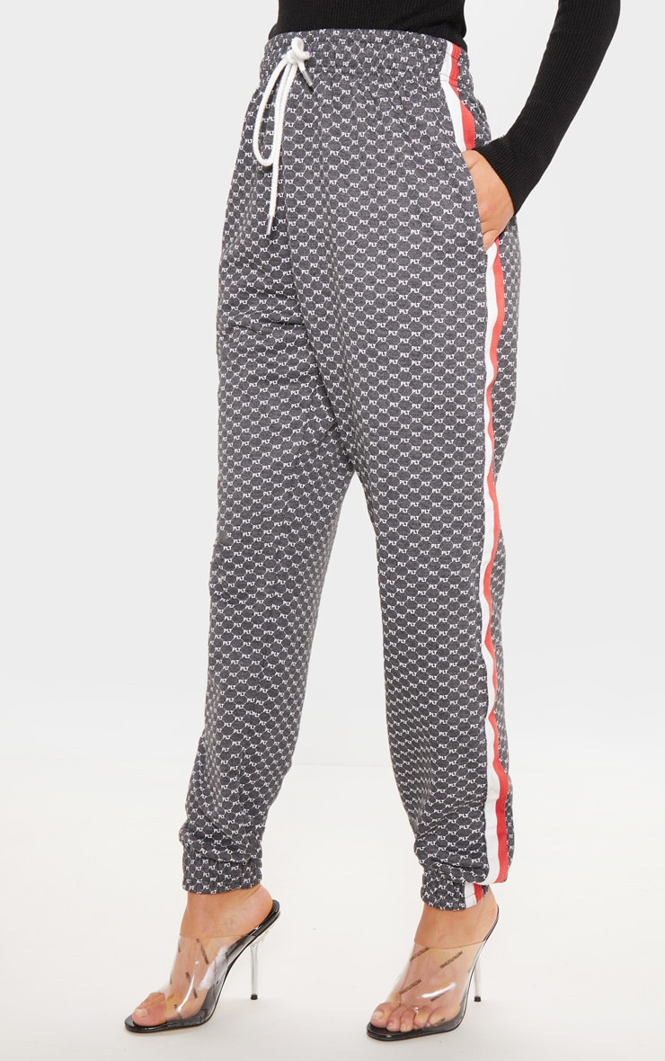 PRETTYLITTLETHING Charcoal Printed Contrast Tape Jogger 2