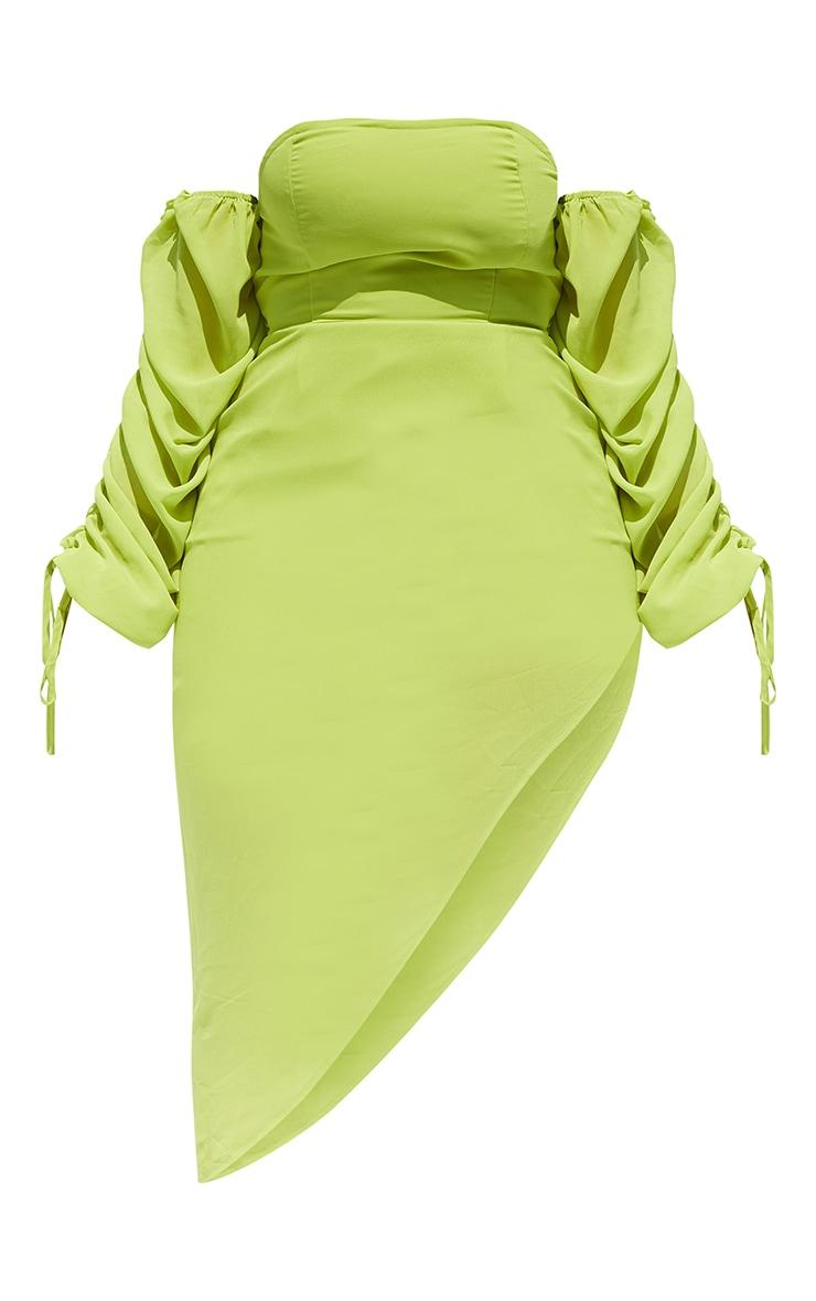 Shape Lime Bardot Ruched Sleeve Asymmetric Dress 5