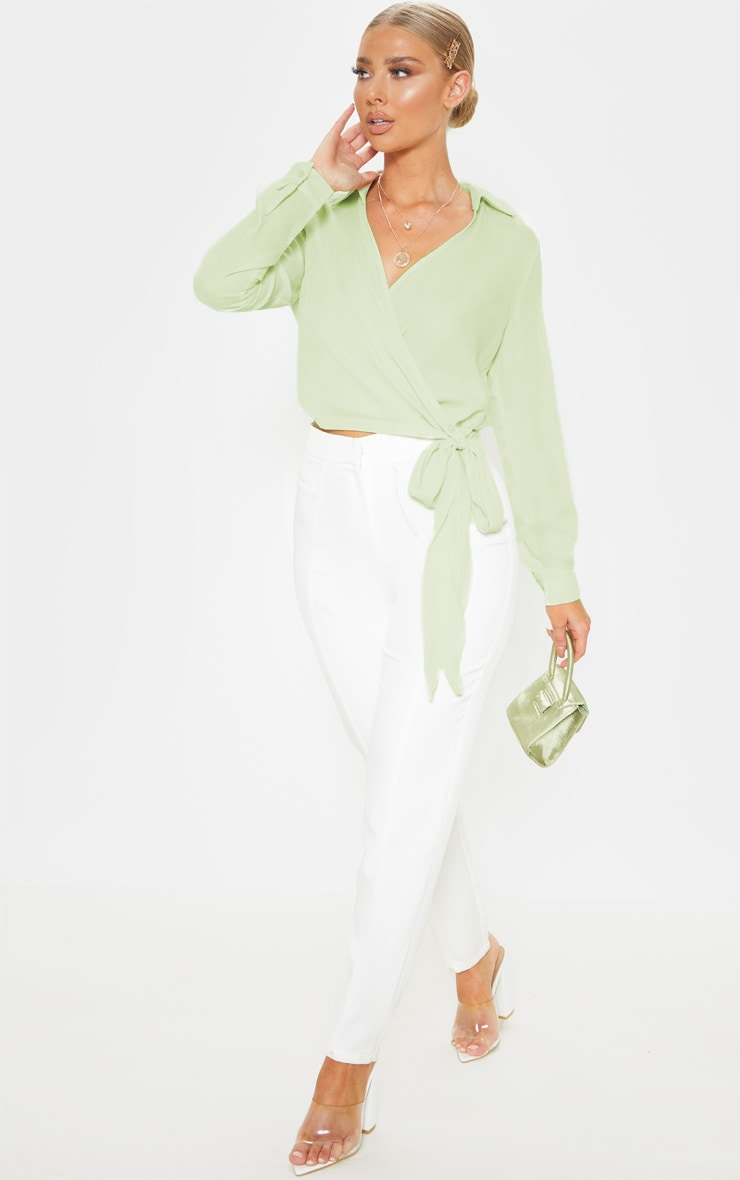 Sage Green Wrap Front Tie Side Blouse 4