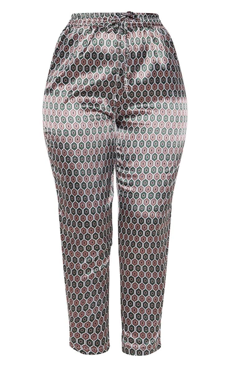 Pantalon cigarette marron imprimé géométrique 3