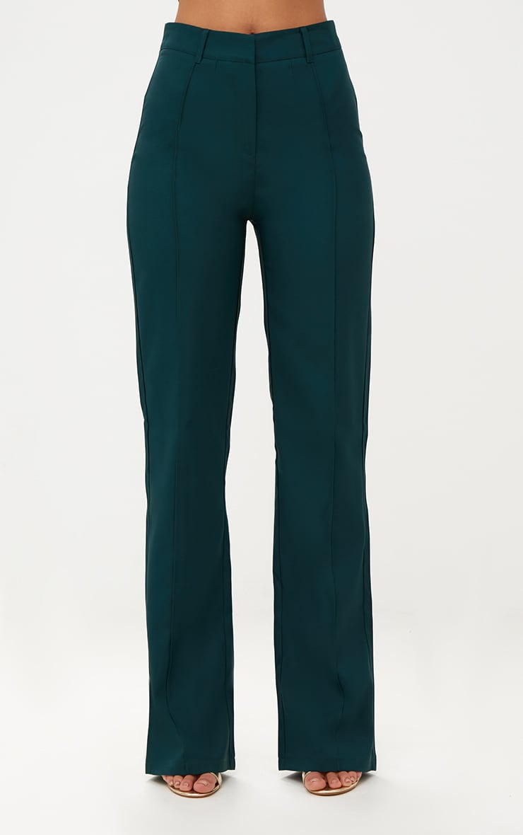 Emerald Green High Waisted Straight Leg Trousers 2