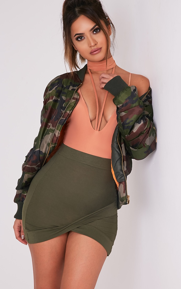Basic Khaki Asymmetric Mini Skirt 1