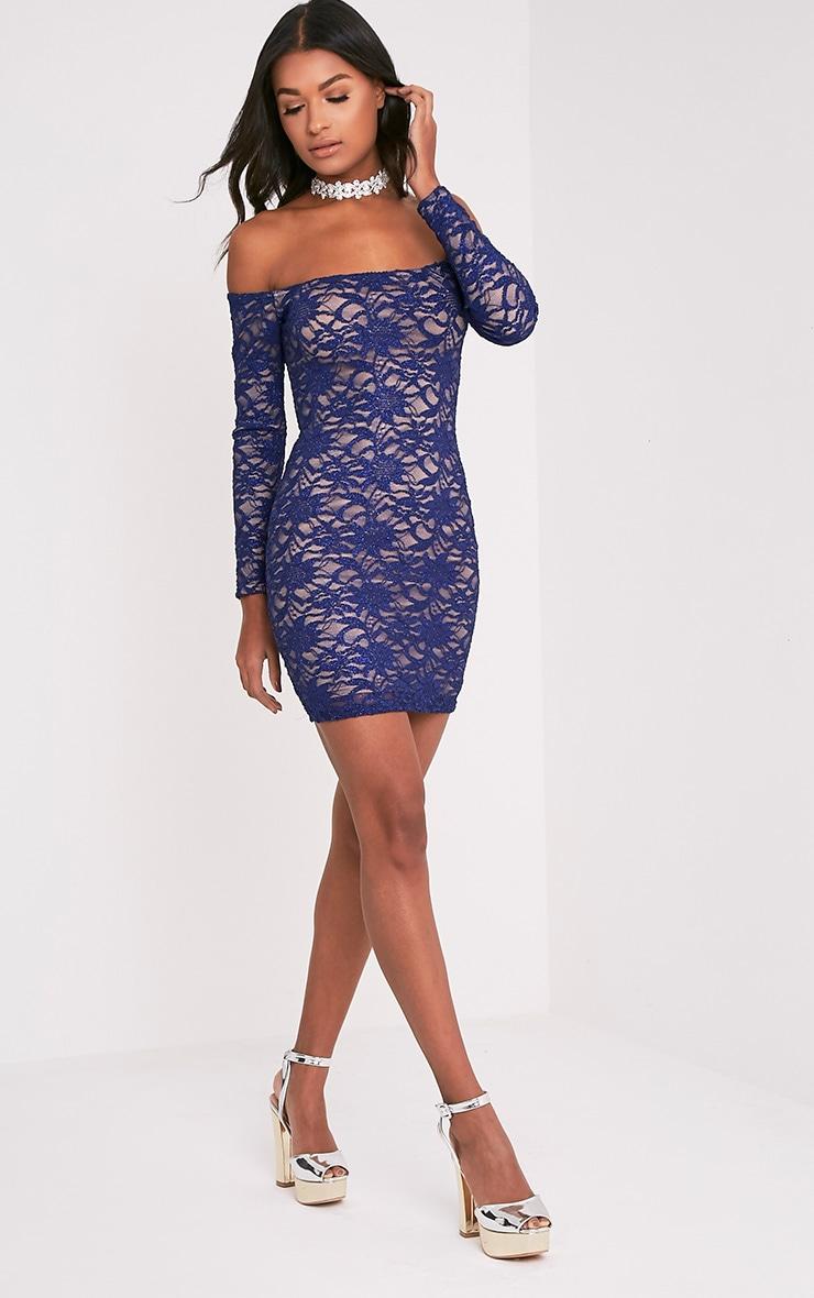 Lorinia Blue Glitter Lace Bardot Bodycon Dress 7