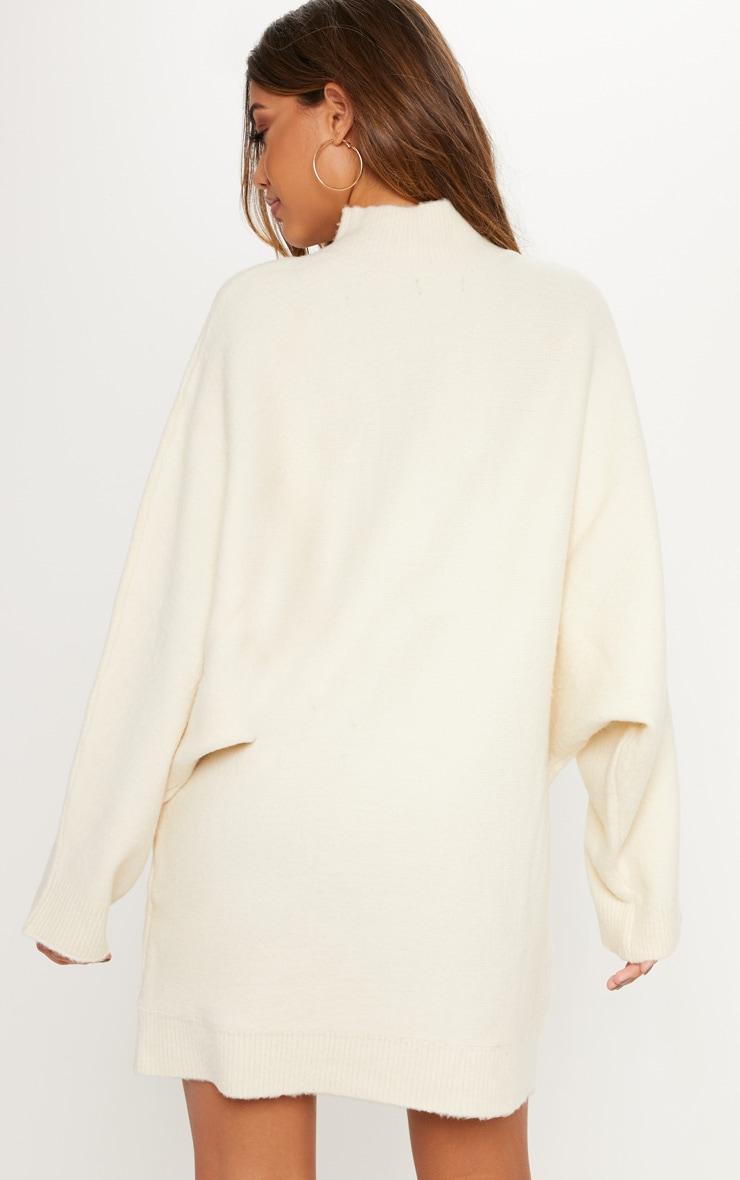 Cream Oversized Jumper Dress  2