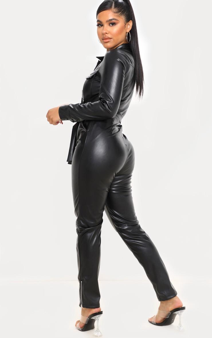 Petite Black PU Boiler Suit 2