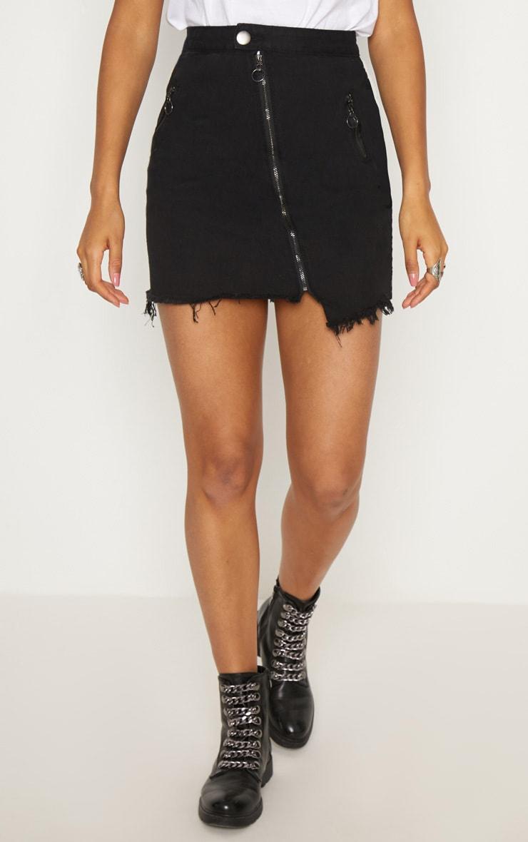 Black Zip Detail Mini Skirt 2