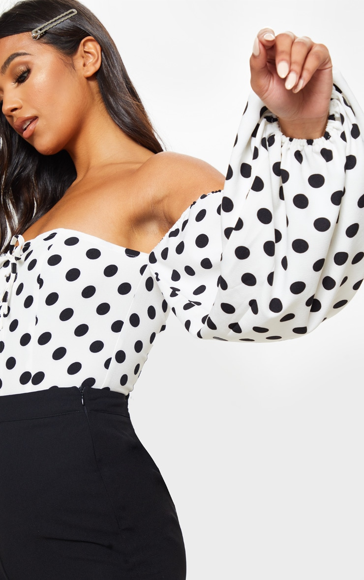 Mono Polka Dot Printed Lace Up Bardot Puff Sleeve Bodysuit 5