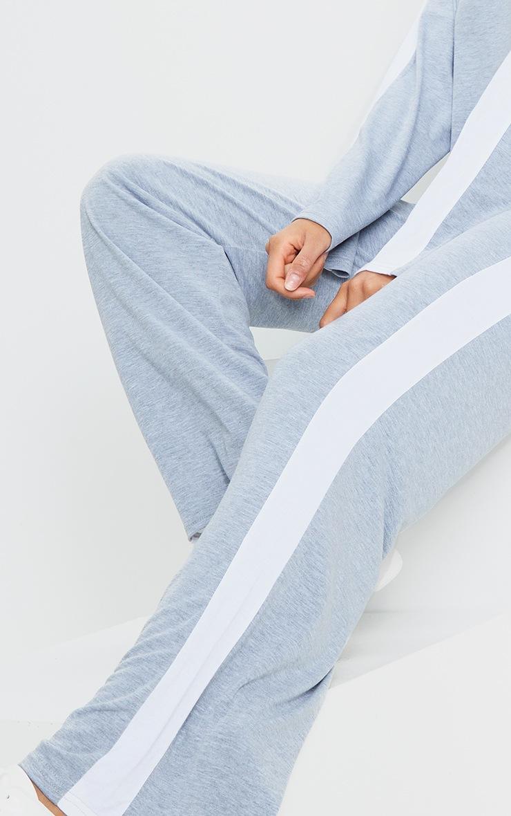 Grey Wide Leg Side Stripe Pants 4