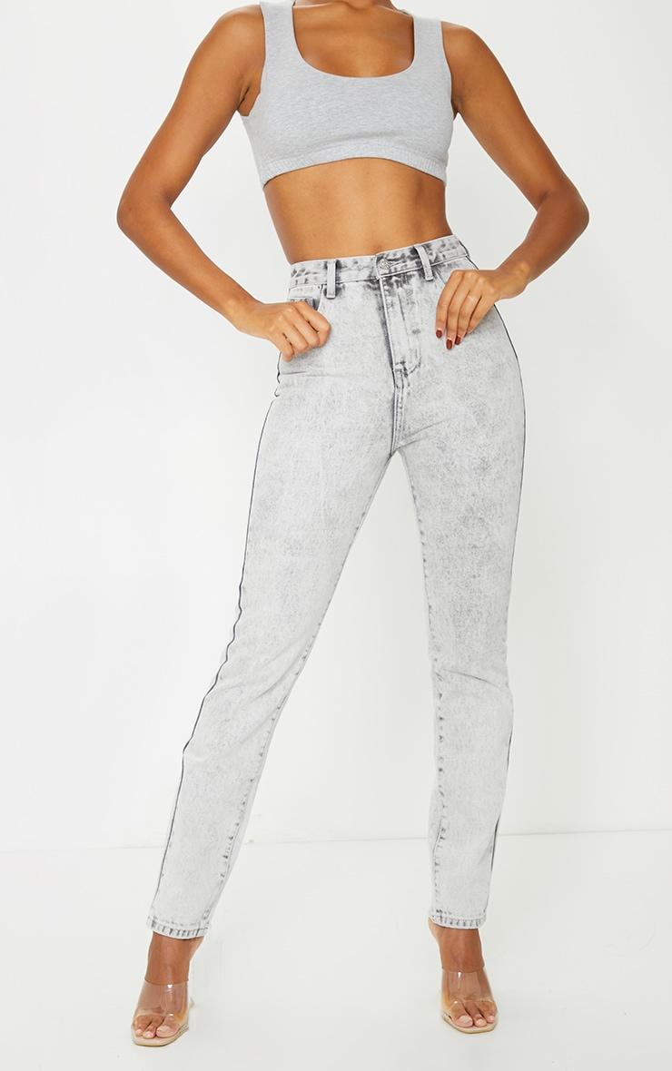 Washed Acid Grey Long Leg Rigid Skinny Jeans 2