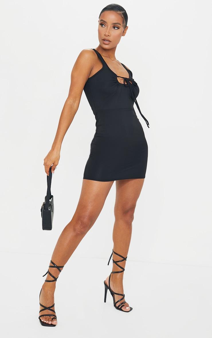 Black Double Strap Halterneck Detail Bodycon Dress 1