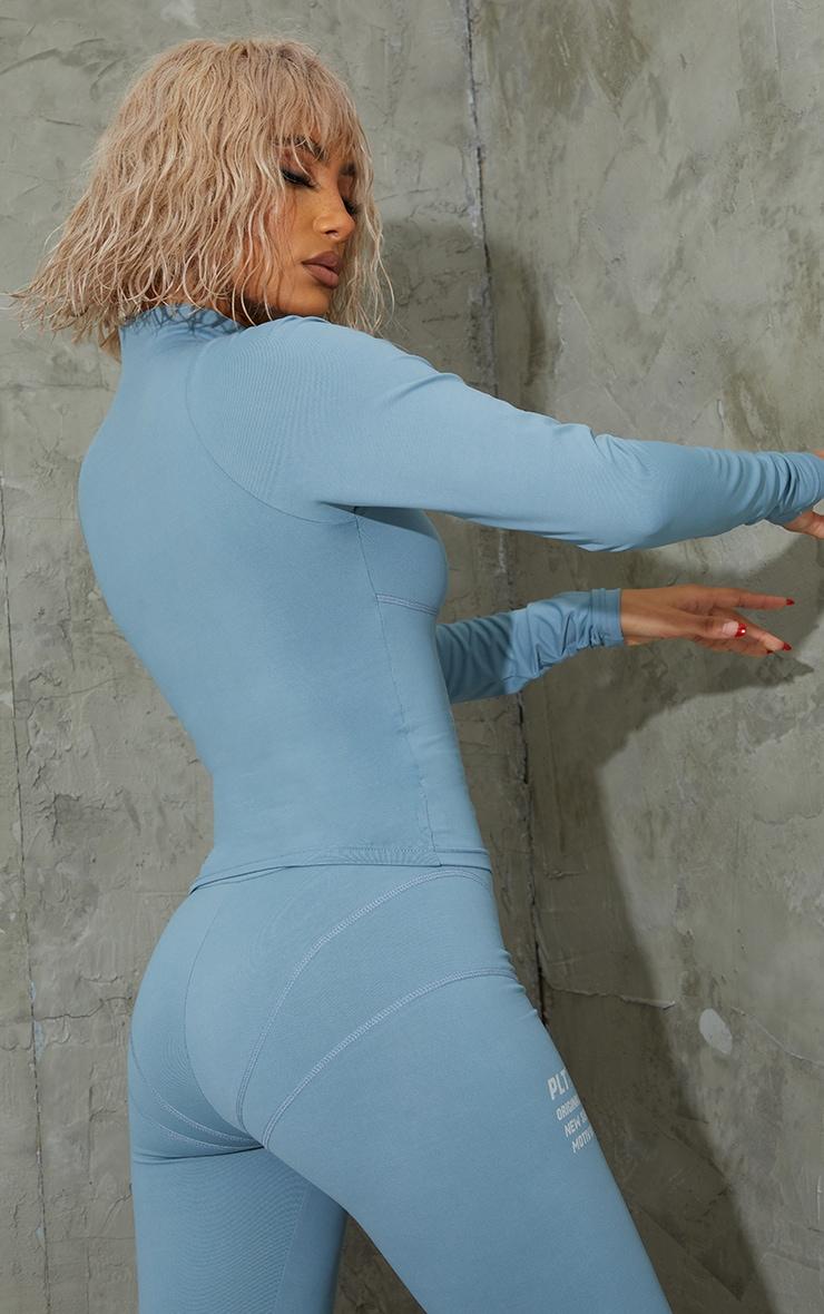 Steel Blue Zip Up Stitch Detail Gym Jacket 2