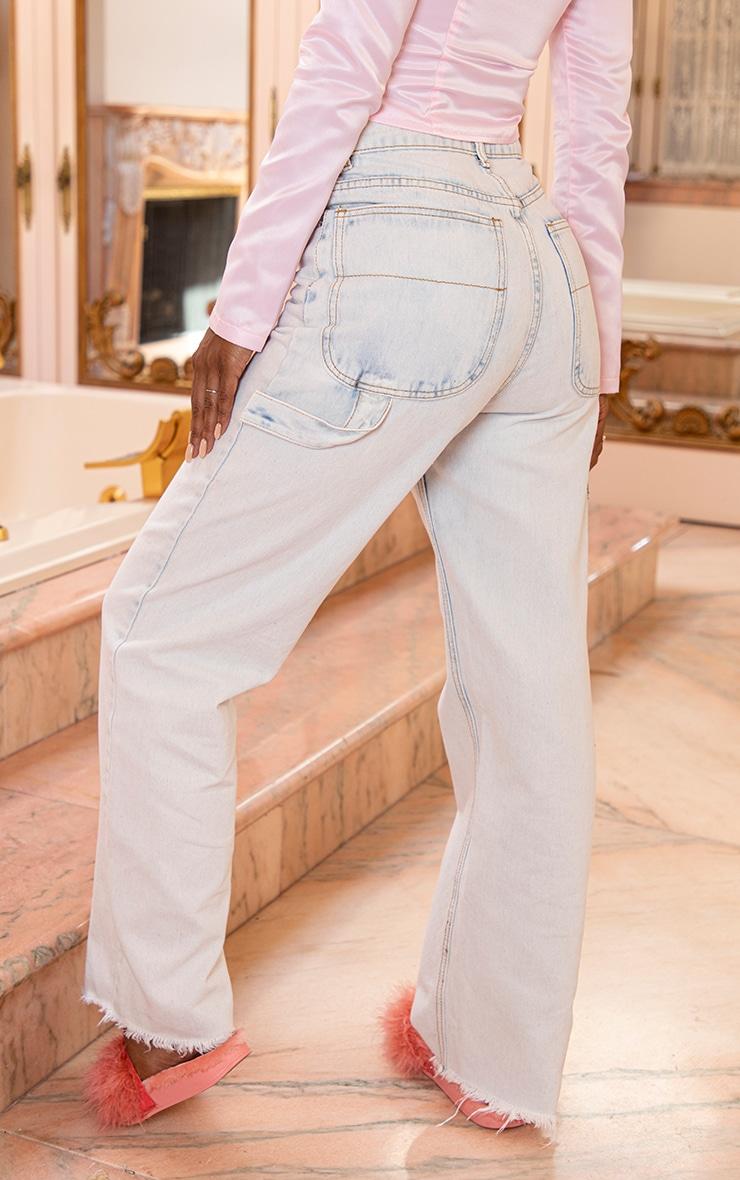 Bleach Wash Cargo Baggy Jeans 4