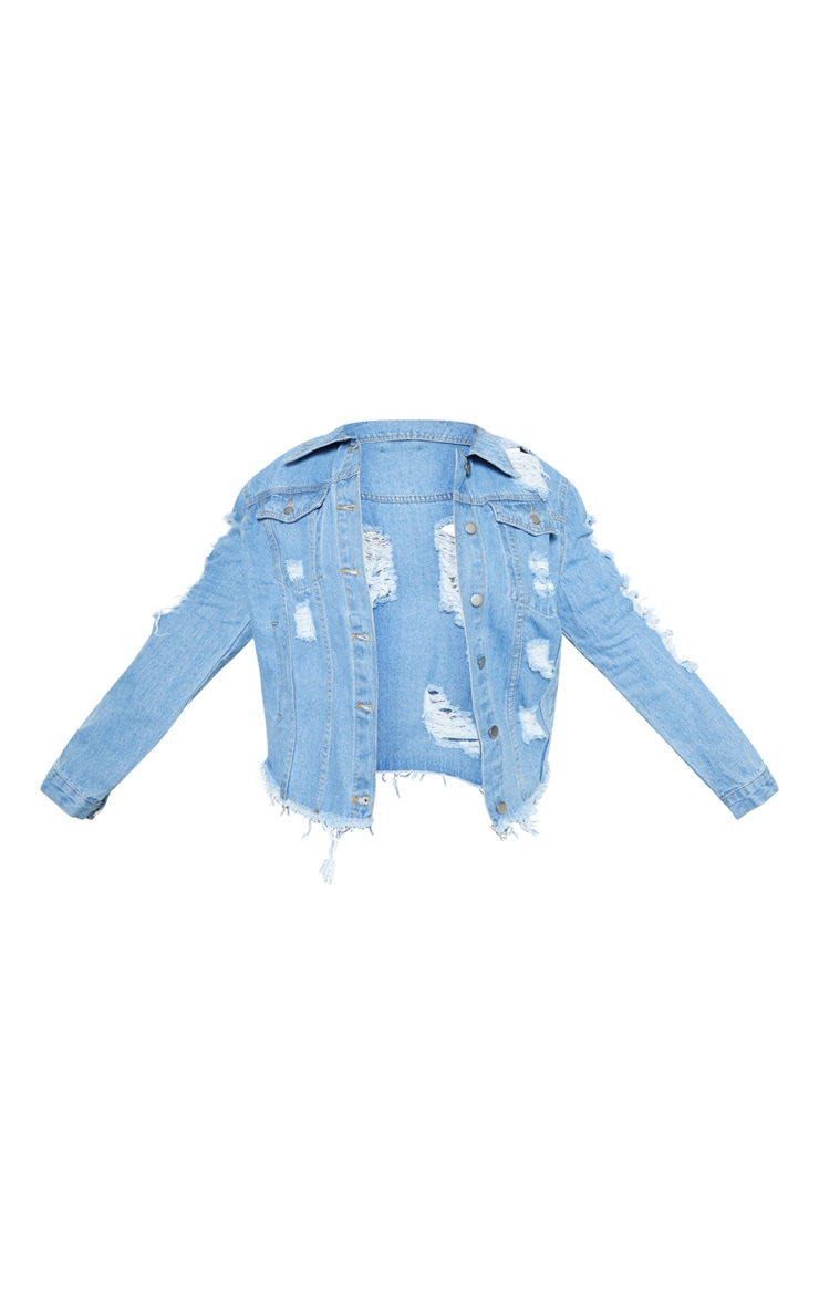 Plus Light Wash Distress Oversized Denim Jacket 4