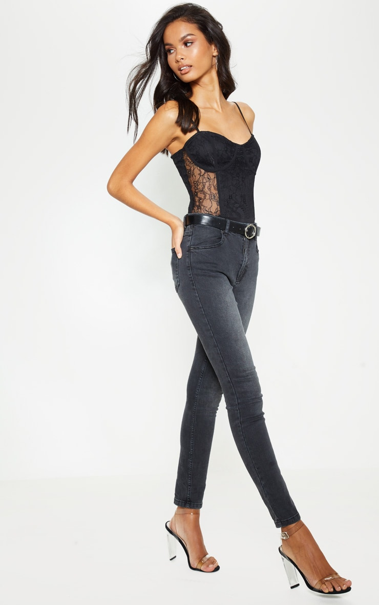 Jean skinny gris anthracite à 5 poches 1
