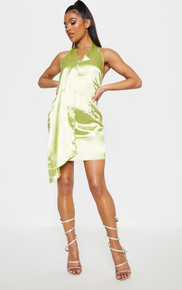 Chartreuse Halterneck Swing Dress 4