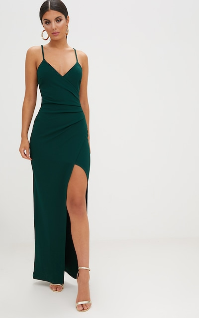 e11ac59048b3a0 Emerald Green Wrap Front Crepe Maxi Dress