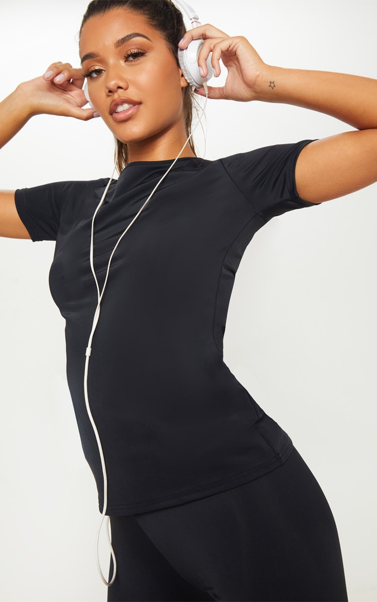 Black Basic Short Sleeve Gym Top 1