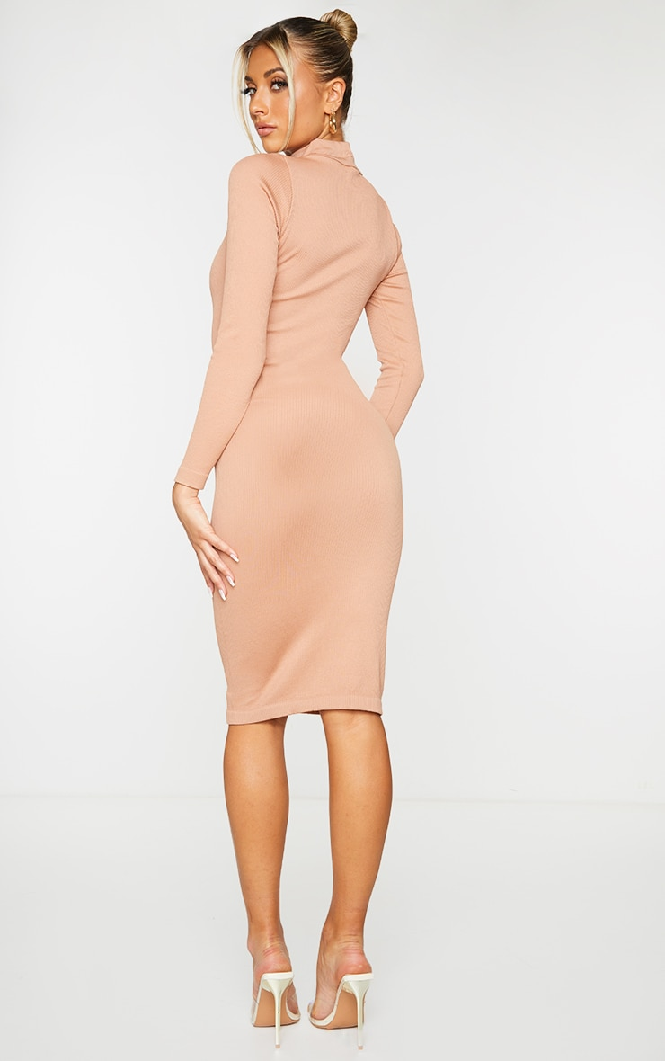 Taupe Structured Contour High Neck Midi Dress 2