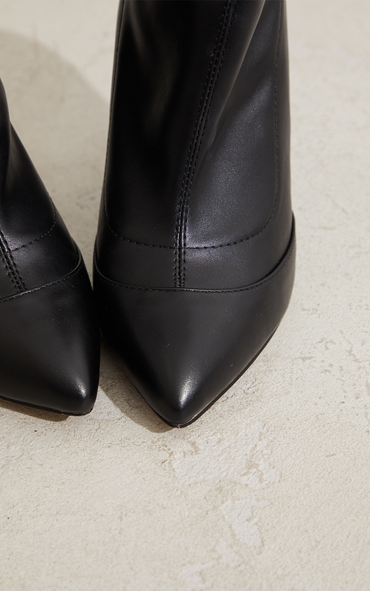 Black WIDE FIT Pu Pointed Ankle Sock Boots 4