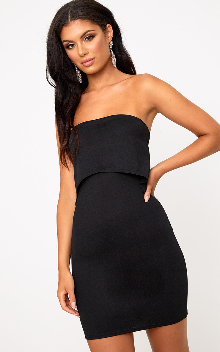 Black Bandeau Overlay Bodycon Dress 1
