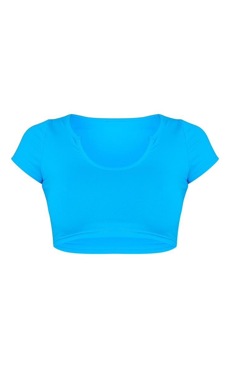 Blue Slash Neck Crop T-shirt 5