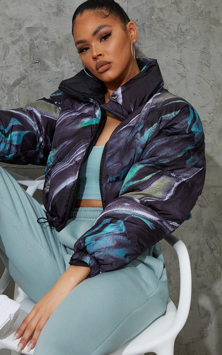 Green Abstract Print Reversible Zip Up Puffer Jacket 4