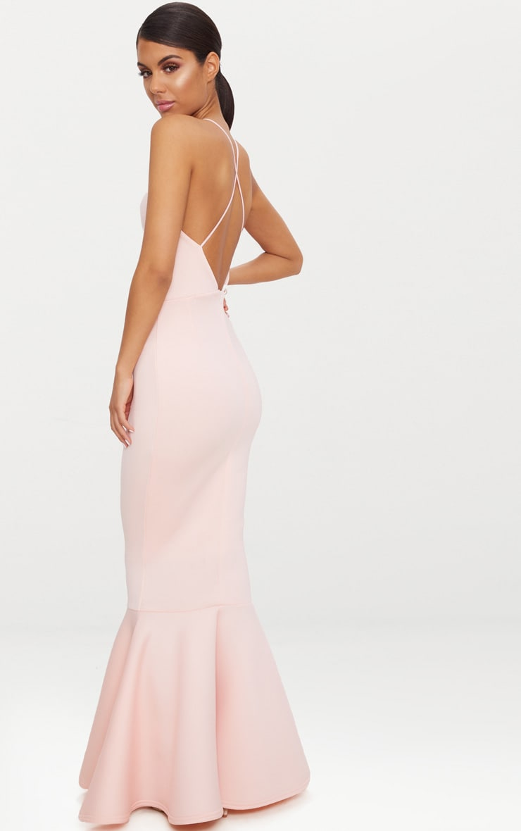 Nude Cross Back Fishtail Maxi Dress 1